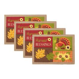 """Harvest Blessings"" Turkey and Sunflowers Fabric Placemats, Set of 4"