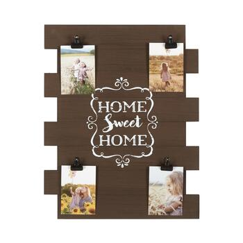 "The Grainhouse™ 16""x20"" Brown ""Home Sweet Home"" Photo Clip Wood Plank Wall Decor"