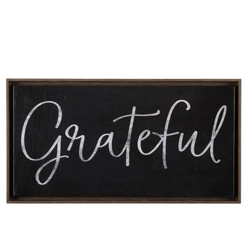 "25.5""x13.5"" ""Grateful"" Framed Wall Decor"