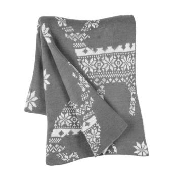 Gray Reindeer Knitted-Style Woven Throw Blanket