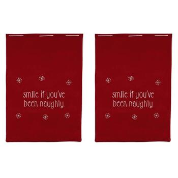 "Red ""Smile If You've Been Naughty"" Gift Sacks, Set of 2"