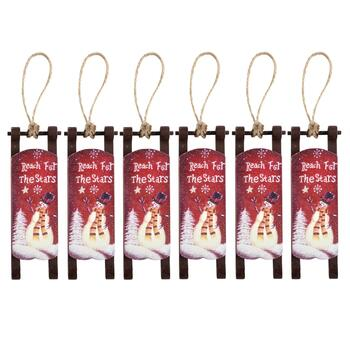"6.25"" ""Reach for the Stars"" Wood Sleigh Hangers, Set of 6"