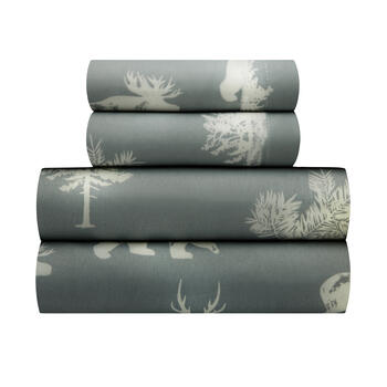 Bear & Deer Print Microfiber Sheet Set view 1