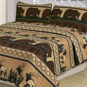 Lodge Brown Bear Quilt Set