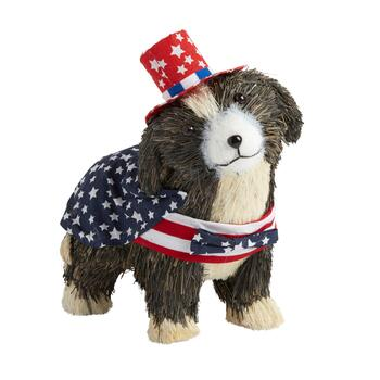 Gray Stars and Stripes Bowtie Sisal Dog Decor