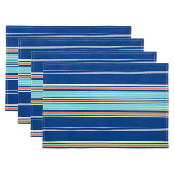 Waverly® Blue/Orange Stripe Fabric Placemats, Set of 4 view 1