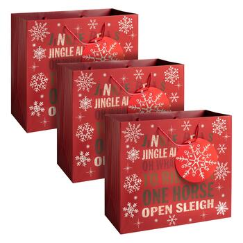 """Jingle Bells"" Snowflake Heavyweight Gift Bags, Set of 3"