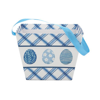 Blue & White Printed Easter Egg Bucket view 3