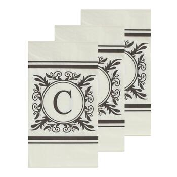 "3-Pack Monogram ""C"" Guest Towels, 45-Count"