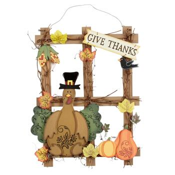 "15"" Turkey ""Give Thanks"" Wood Window Wall Hanger"