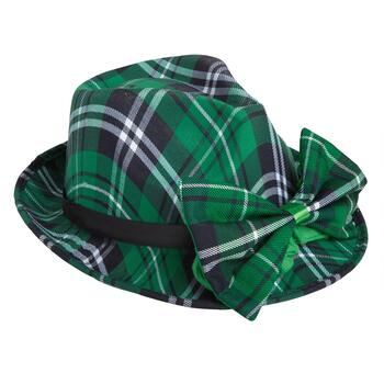 Green Tartan Plaid Hat and Bowtie Set