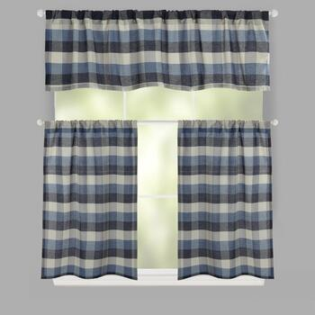Plaid Rod Pocket Cotton Blend Window Tier & Valance Set