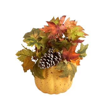 "13"" Yellow Pumpkin Pot with Pinecones and Leaves"