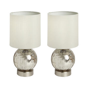 "14.5"" Antique Glass Faceted Ball Accent Lamps, Set of 2 view 1"