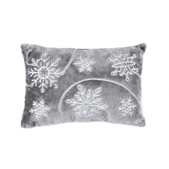 Sequin Snowflake Embellished Oblong Throw Pillow