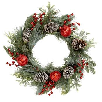 "24"" Frosted Pinecone and Red Ornaments Holiday Wreath"