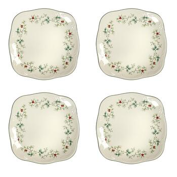 Famous Maker Winterberry Square Salad Plates, Set of 4