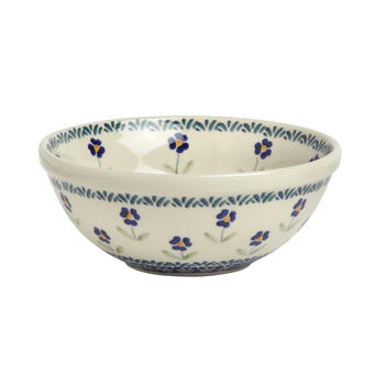 Polish Pottery Blue Petals Small Mixing Bowl view 1