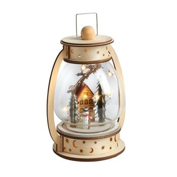 "8"" Santa on the Roof LED Wood Lantern Decor"