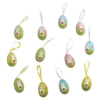 Rabbit with Basket Hanging Eggs, 12-Pack