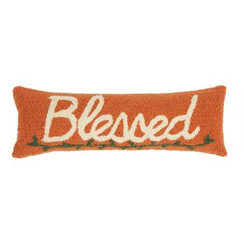 "8""x24"" ""Blessed"" Hooked Oblong Throw Pillow"