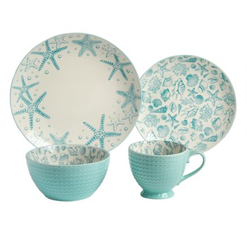 Starfish and Seashells Coastal Dinnerware