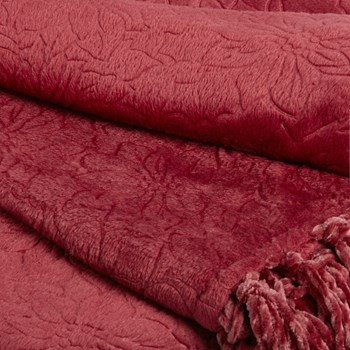 Poinsettia Embossed Throw Blanket with Fringe view 2