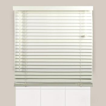 "64"" White Slatted Bamboo Window Blinds"