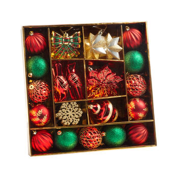 Red/Green Shatterproof Ornament Set, 53-Piece view 1