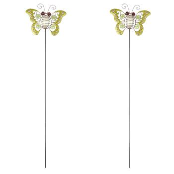 "34"" Glittered Glow-in-the-Dark Butterfly Stakes, Set of 2"