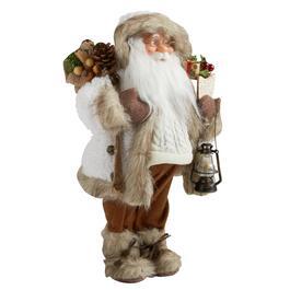 "16"" Woodland Santa with Faux Fur Coat and Lantern"