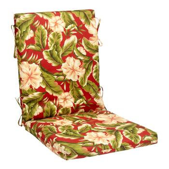 Red Floral Hinged Indoor/Outdoor Hinged Chair Pad