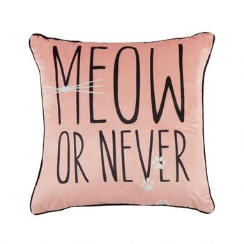 """Meow or Never"" Square Throw Pillow"