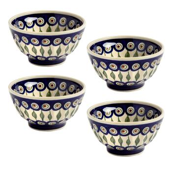 Polish Pottery Peacock Feathers Fluted Cereal Bowls, Set of 4