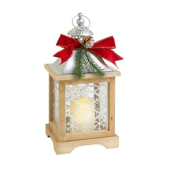 "​15"" Wood Snowflake LED Flameless Candle Lantern"
