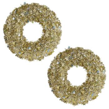 "20"" Gold/Silver Tinsel Wreaths with Stars, Set of 2"