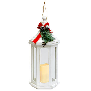 "20"" White Wood Flameless Candle Lantern with Christmas Greenery view 1"