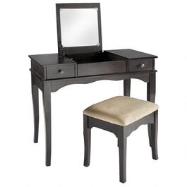 Open Top Mirror Vanity with Power Outlet and Stool