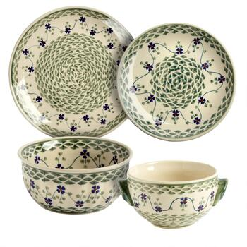 Polish Pottery Green Basketweave Handmade Dinnerware Collection