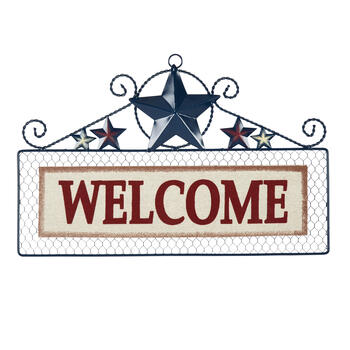 "18"" ""Welcome"" Stars Wire Wall Hanger"