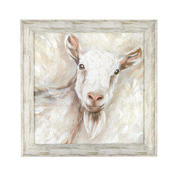 "24"" White Goat Wood Frame Wall Art view 1"