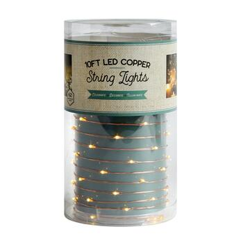 10' Copper Wire Battery-Powered White LED String Lights view 2