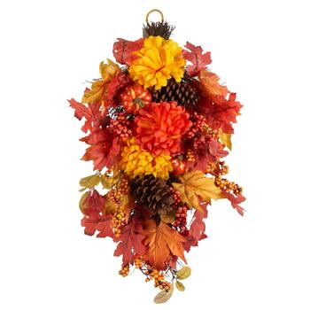 "26"" Yellow/Orange Mums Teardrop Faux Wreath Hanger"