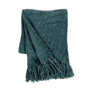 Solid Chenille Fringe Throw Blanket