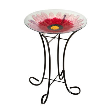 "17"" Flower Mosaic Bird Bath view 1"