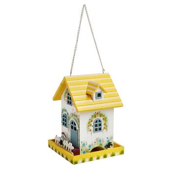Yellow Floral Cottage Hanging Bird Feeder