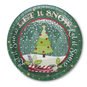 "Christmas Tree Snow Globe 10"" Paper Plates, 40-Count view 1"
