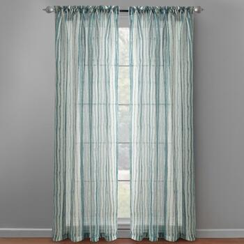 "63"" Teal Blue Striped Window Panels, Set of 2"