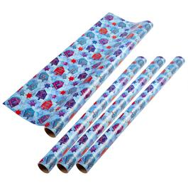 Dreidel and Stars Wrapping Paper Rolls, Set of 4