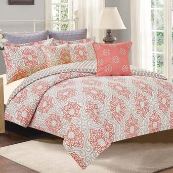 Coral Apex Medallion Comforter Set, 7-Piece
